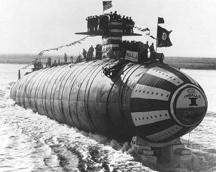 photo of SSN 596 Barb submarine on launch day