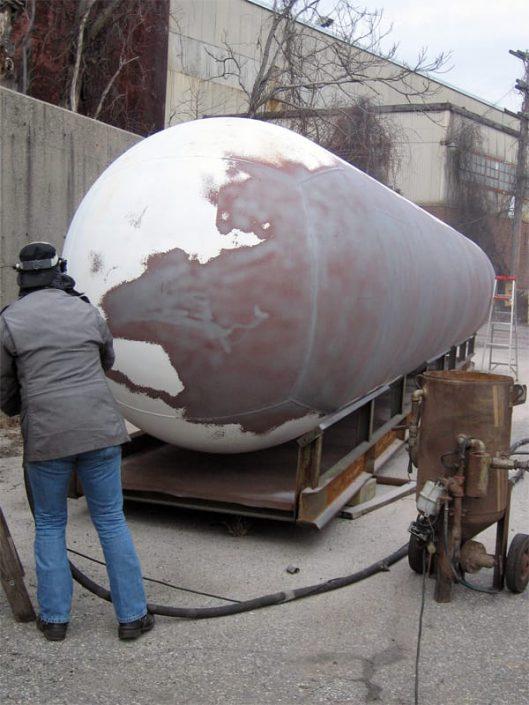 sandblasting pressure hull of future seahawk submarine