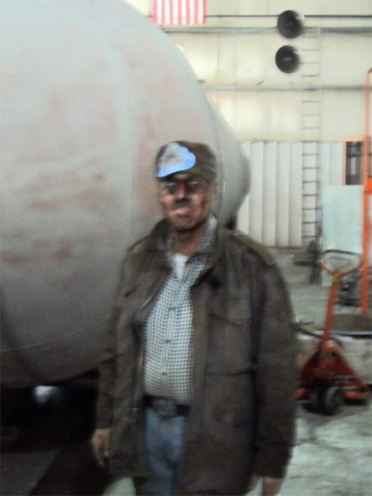 shows seahawk submarine builder John Kammerer dirty after sandblasting