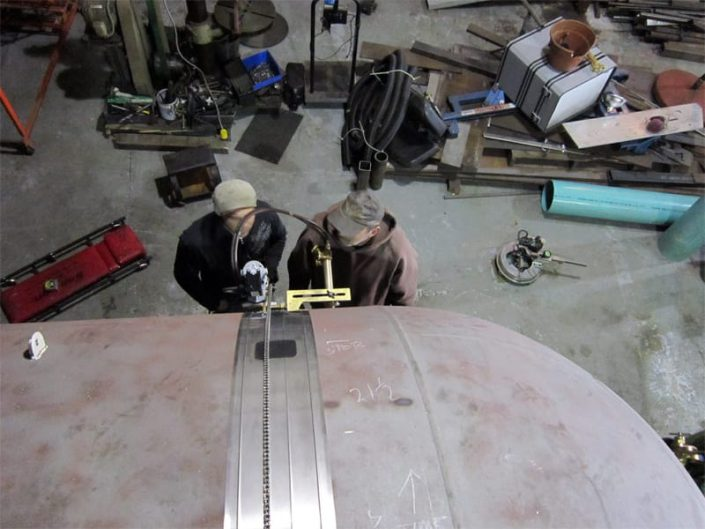 cutting open seahawk submarine hull