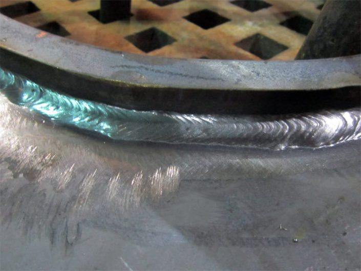 close-up of bulkhead frame weld