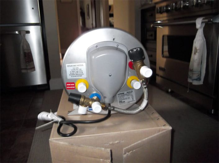 water heater shown before installation in personal submarine SeaHawk