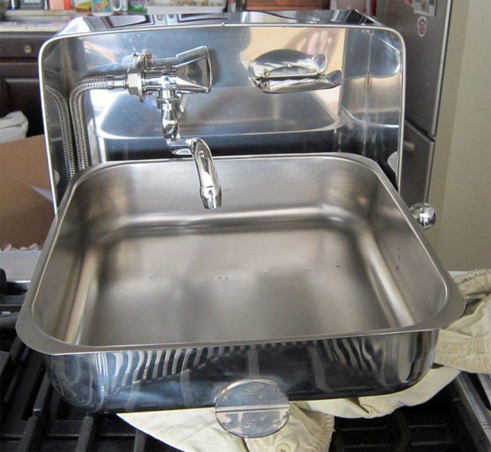 galley sink shown before installation