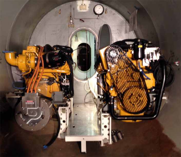 shows diesel generators mounted in SeaHawk personal submarine