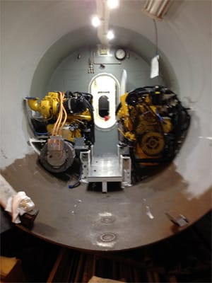 twin John Deere 250kw generators in submarine machinery compartment
