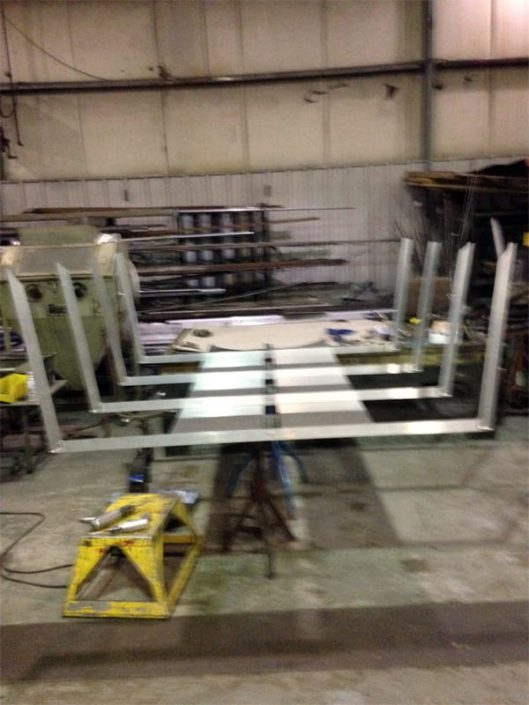 topside decking frame being built