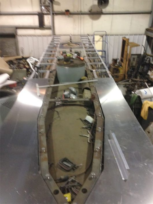 topside deck frame with opening for submarine sail