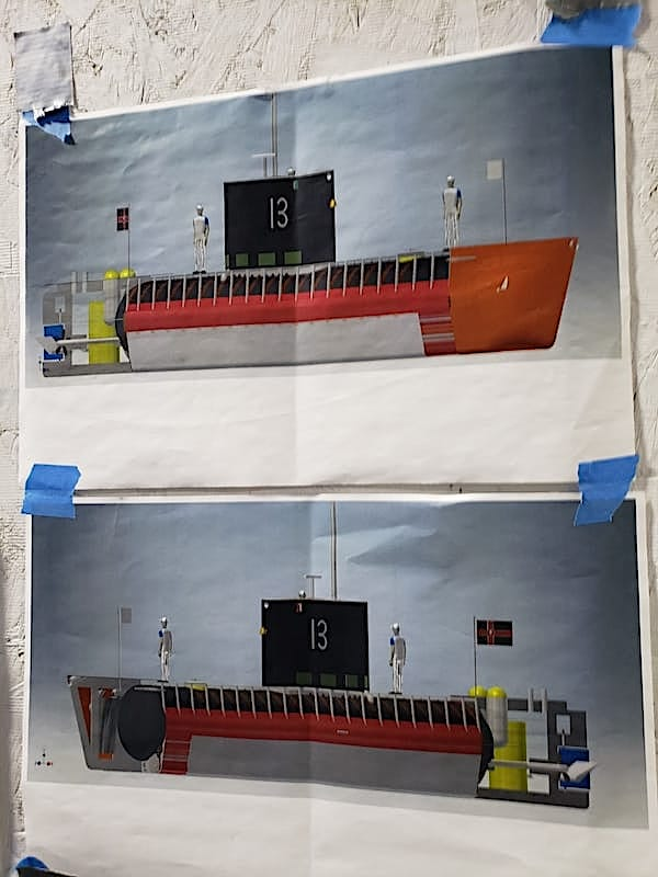 CAD drawing showing starboard and port views of private submarine build in Connecticut.